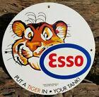 OLD 1957 ESSO PORCELAIN SIGN GAS OIL TIGER KING TANK EXTRA STANDARD LION AFRICA