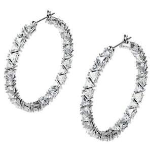 Swarovski Millenia Hoop Earrings, Triangle Zirconia White Rhodium Plated 5598343