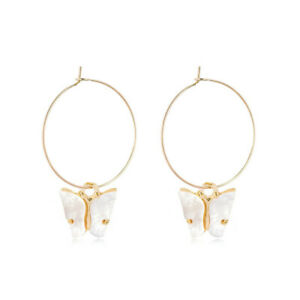 Hot Gold Plated White Crystal Cute Butterfly Round Drop Earrings Exquisite Jewel