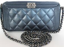 75625615f360 AUTHENTIC CHANEL BOY METALLIC CAVIAR WALLET ON CHAIN WOC