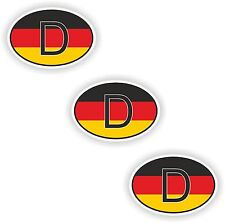 3x Oval Flag Stickers Germany Small Country Code Laptop Tablet Smartphone Case