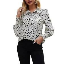 Womens Long Sleeve Button Down Shirts Polka Dot Casual Office Blouse Tops Tees