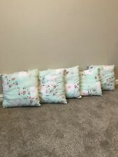 5 Brand New Pale Green Patchwork Cushions