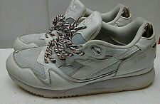 Diadora White Leather Mesh Athletic Sneaker Lace Up Running Men Shoes 10.5M 44.5