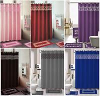 18 Piece Bathroom Shower Mat Curtain Set  (Shower Hooks + Bat Mat + Towel Set)