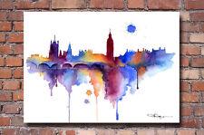 London Skyline Watercolor Painting Art Print by Artist DJ Rogers