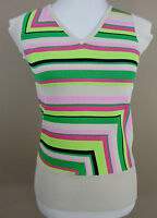 PROMOD Stretch Shirt, Gr. 40, grün pink beige gestreift, Damen Top Viskose