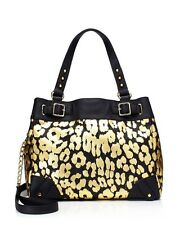 Retails $198 Juicy Couture Beverly Leopard Black Gold Lg Daydreamer Handbag NWT