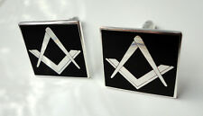 Pre-Owned Masonic Masons cuff links Freemason Square Compass black enamel VGC