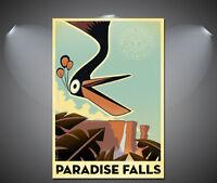 Paradise Falls Vintage Art Deco Travel Poster - A1, A2, A3, A4 sizes