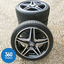 "GENUINE MERCEDES BENZ 18"" AMG 5 DOUBLE SPOKE ALLOY WHEELS TYRES A B CLA CLASS"
