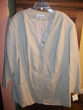 SILHOUETTES Womens 26W Beige Poly Rayon Lined 3 Button Collarless Blazer NWT