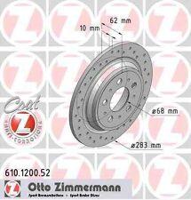 Disque de frein arriere ZIMMERMANN PERCE 610.1200.52 VOLVO V70 I P80_ 2.4 Bifuel