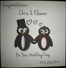 PERSONALISED HANDMADE WEDDING DAY CIVIL PARTNERSHIP PENGUIN CONGRATULATIONS CARD