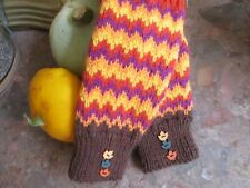 Hand knitted fingerless mittens with  wood  leaf  shaped  buttons. Autumn