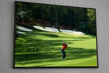 TIGER WOODS Amen Corner THE MASTERS A3 FRAMED Canvas Portrait Signed Great Gift