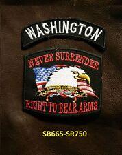 WASHINGTON and NEVER SURRENDER Small Patches Set for Biker Vest Jacket