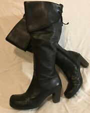 Clarks Black Knee High Leather Lovely Boots Size 4D (458Q)