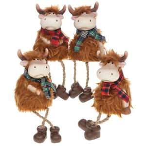 11cm Dangly Legs Highland Coos Cow Home Ornament
