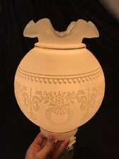 Vtg Lamp Shade White Milk Glass Globe Ball Fluted GWTW Parlor Oil Hurricane Gold