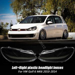 Pair L&R Headlight Lense Clear Headlamp Lens Cover For VW Golf 6 MK6 2010-2014