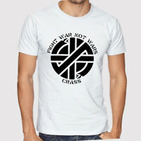 New Crass Logo Men's White T-Shirt Size S to 3XL