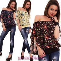 Maglia donna maglietta velata fiori carmen gitana maniche corte nuova CR-1485