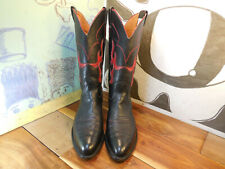 Nocona Black & Red Leather Flame Inlay Boots Women's 9B Made in USA