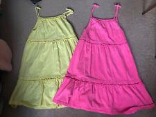 BNWOT 2 Girls Mini Boden Pink Yellow Summer Jersey Dress size age 11-12 Years