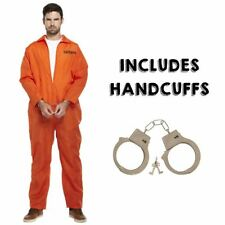 Mens Prisoner Overall Orange Jumpsuit Convict Stag Do Party Fancy Dress Costume
