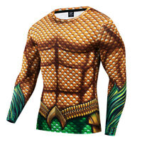 Men's Gym Tights Sport Compression T-Shirt Superhero Aquaman 3D Printed Tops