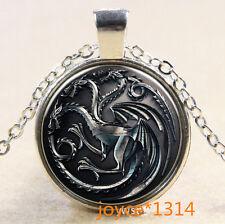 Vintage dragon Cabochon Tibetan silver Glass Chain Pendant Necklace #529