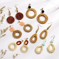 Women Natural Geometric Bamboo vine Circle Hook Drop Dangle Earrings Jewelry New