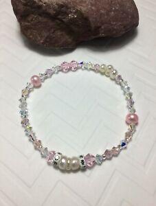 Handmade Pink & White Pearl Crystal Bracelet W/Swarovski Elements USA