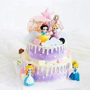 6 Pcs Set Disney Princess Kids Toys 7-8cm Birthday Cake Topper Play Set For XMAS
