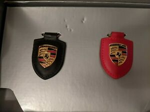 Porsche Leather Crest Key ring set of 2 black & red