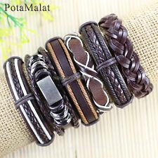 PotaMalat 6pcs Genuine Handmade Leather Cuff Alloy Bracelet Wristband-D97