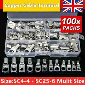 100Pcs Copper Tube Terminals Battery Welding Cable Lug Ring Crimp Connectors Kit