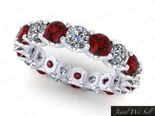 Natural 4.50Ct Ruby Diamond U-Prong Eternity Band Ring 10k White Gold AAA H SI2