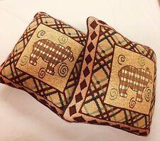 Pair PLAID Bear Pattern Pillows 15 in. SQ Knife Edge Blue COTTON Backing