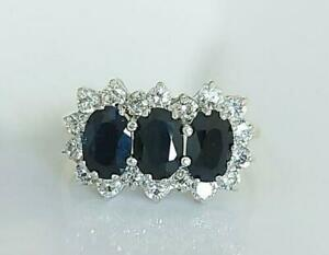 Vintage 1989 9ct Gold 1.80ct Sapphire & Simulated Diamond Engagement Ring UK M/N