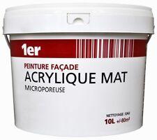 PEINTURE BLANC FACADE ACRYLIQUE MAT MICROPOREUSE 10L = 80 M² bonne adhérence