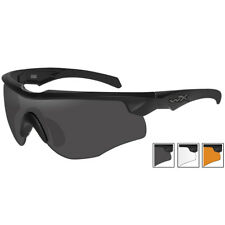 Wiley X WX Rogue Comm Glasses Smoke Grey Clear Light Rust Lens Matte Black Frame