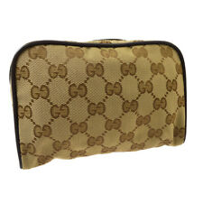 GUCCI GG Pouch Clutch Hand Bag Purse Brown Nylon Leather Vintage K08813