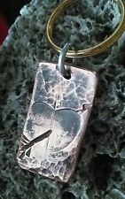 Artisan handmade copper love heart arrow Keychain gift wife husband friend Gf Bf