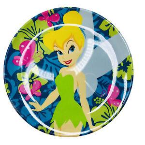 "Set of 6 Disney Store Tinker Bell Plastic Dinner Plates 6"" Diameter EUC Hawaiian"