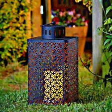 LED Large Tall Metal Gothic Moroccan Battery Hanging Hurricane Candle Lantern