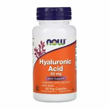 NOW Hyaluronic Acid with MSM Veg Capsules, 50mg, 60 Veg Capsules Joint Support