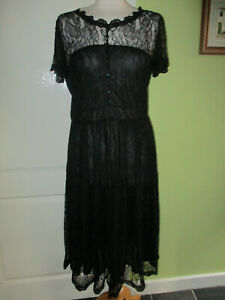 BNWT UK SIZE 16 WOMENS BLACK LACE SPECIAL OCCASION DRESS