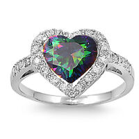 Sterling Silver 925 RAINBOW TOPAZ CLEAR CZ HEART DESIGN RING 13MM SIZES 5-10